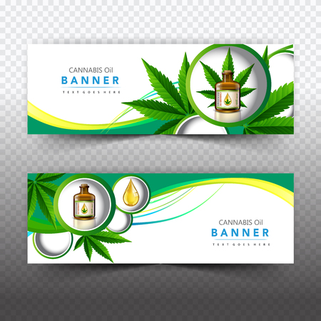 Banner plant concept, cannabis oil and legislation social issue as medical and recreational weed usage on green background symbols in a 3D illustration style.
