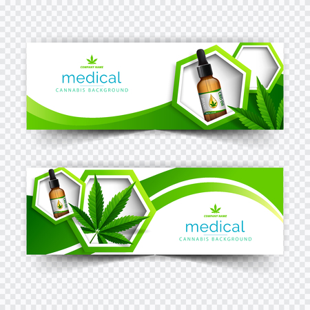 Banner plant concept, cannabis and legislation social issue as medical and recreational weed usage on green background symbols in a 3D illustration style.
