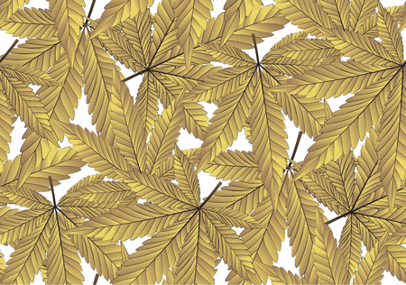 Cannabis or Marijuana leaves in gold colour. Seamless Pattern golden foil background in vector format Illustration. Ilustração