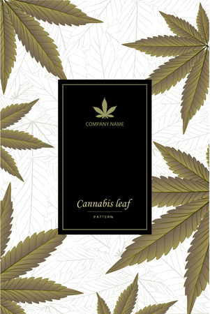 Cannabis vector pattern with marijuana leaves on golden foil for wrapping, wallpaper, ceramic, craft, textile, fabric