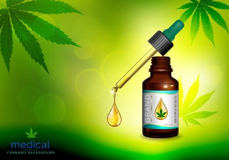 Vecteur de bouteilles d'huile de marijuana et de cannabis. Feuilles de marijuana verte, feuille de cannabis, pilules et capsules. Vecteurs