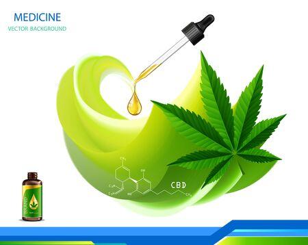 Concept de marijuana et huile de cannabis et problème social de la législation en tant qu'usages médicaux et usage récréatif des mauvaises herbes sur des symboles d'arrière-plan dans un style d'illustration 3D.