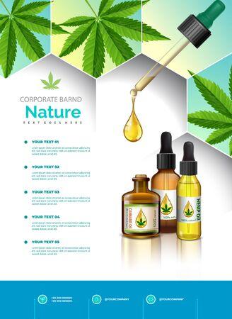 Cannabis or marijuana medical bottle oil poster, brochure, banner design. vector illustration.