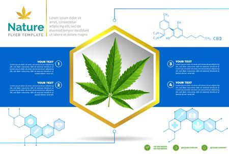 Cannabis medical bottle oil poster, brochure, banner design. vector illustration.