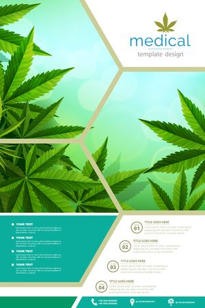 Cannabis or Cannabis medical bottle oil poster, brochure, banner design. vector illustration. Ilustracja