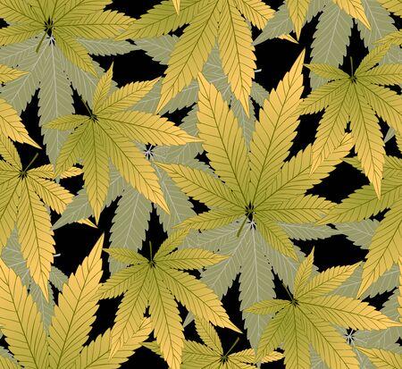 Marijuana  Green Leaf and marijuana dark seamless pattern. Cannabis marijuana hemp leaf in white color Vector Illustration background. Stock Illustratie