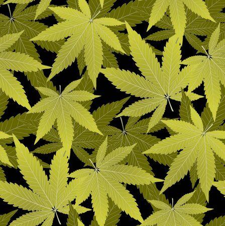 Marijuana  Green Leaf and marijuana dark seamless pattern. Cannabis marijuana hemp leaf in white color Vector Illustration background. Vectores
