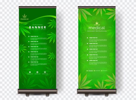 Marijuana leaves or for the production of medical marijuana oil, roll up designs, vector images.
