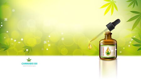 Marijuana concept and caMarijuana concept and cannabis oil and legislation social issue as medical and recreational weed usage on green background symbols in a 3D illustration style. Stock Illustratie