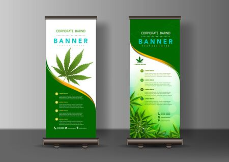 Marijuana leaves or for the production of medical marijuana oil, cannabiniods, roll up designs, vector images.