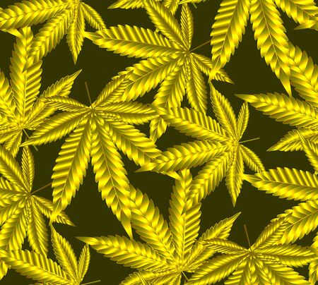 Cannabis or Marijuana leaves in gold colour. Seamless Pattern golden foil background in vector format Illustration. Иллюстрация