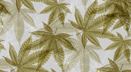 Cannabis or Marijuana leaves in gold colour. Seamless Pattern golden foil background in vector format Illustration. Vectores
