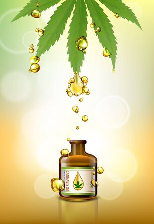 Marijuana leaves or for the production of medical marijuana oil, brochure designs, vector images. Vectores