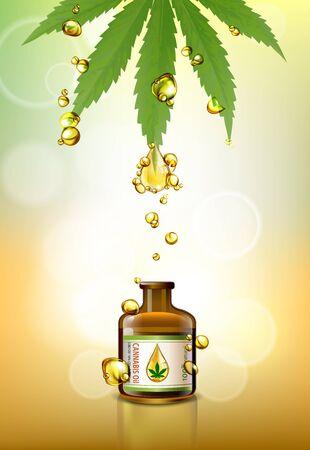 Marijuana leaves or for the production of medical marijuana oil, brochure designs, vector images. Stock Illustratie