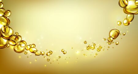 Golden water with bubbles, gas and oil shapes and waves - vector illustration. Stock Illustratie