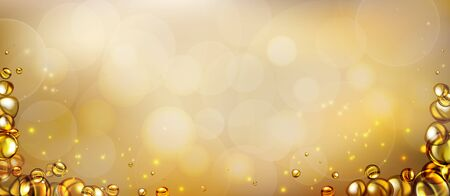mixing water and oil, beautiful color abstract background, Floating bubbles in oil against a golden gradient backdrop - 3D illustration. Vectores
