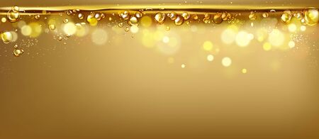 mixing water and oil, beautiful color abstract background, Floating bubbles in oil against a golden gradient backdrop - 3D illustration. Illustration