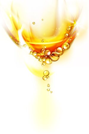 fluid shape mixing water and oil, beautiful color abstract background, Floating bubbles in oil against a golden gradient backdrop - 3D illustration.