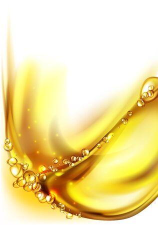 mezcla de agua y aceite, fondo abstracto de color hermoso, burbujas flotantes en aceite contra un fondo degradado dorado - ilustración 3D. Ilustración de vector