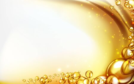mixing water and oil, beautiful color abstract background, Floating bubbles in oil against a golden gradient backdrop - 3D illustration. Stock Illustratie