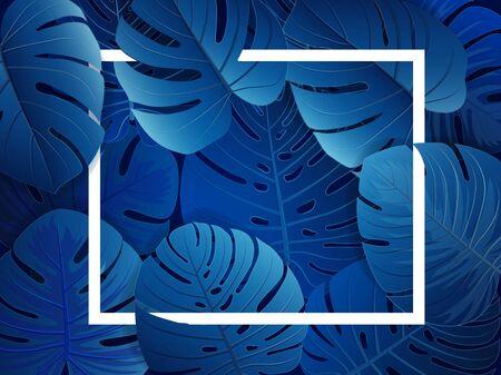 Tropical monstera laeves classic blue Stock Illustratie