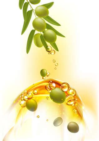 Leaf of green olives. Realistic Olive drop oil branch. Design elements for packaging. Vector illustration. Illustration