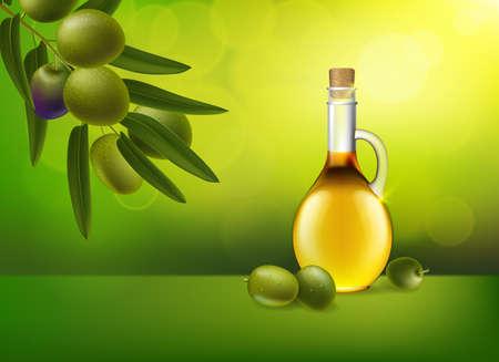 Leaf of green olives. Realistic bottle of olive oil branch. Design elements for packaging. Vector illustration.