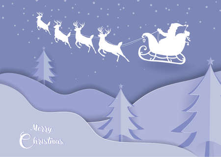 Deer and santa claus driving in a sleigh with snow in the winter season and marry christmas.vector paper art and digital craft style.