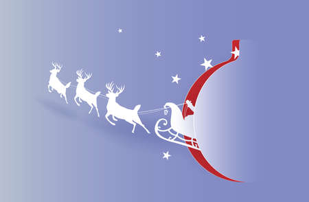 Marry christmas with Deer and santa claus driving in a sleigh with snow in the winter season.