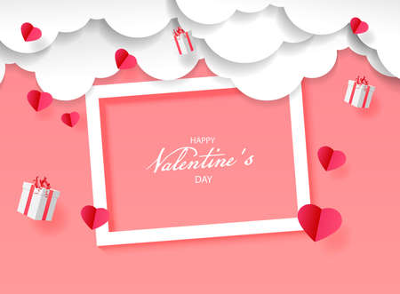 Happy valentine day festive sparkle layout template design. Vector illustration background with white frame. Use for wallpaper,