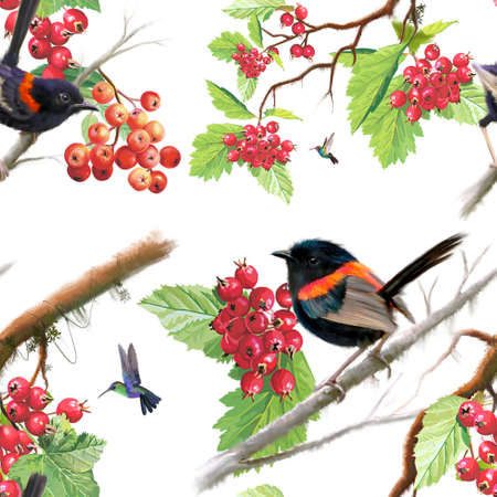 Birds on berry branch seamless pattern on white background. Pastel digital painting. Banque d'images
