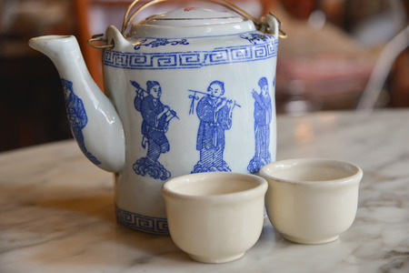 chinese tea pot: chinese tea pot and cup Stock Photo