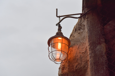 cave exploring: lamp in the cave