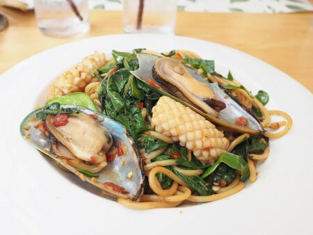 spicy: spicy seafood pasta