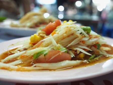 thai spicy papaya salad Stock Photo