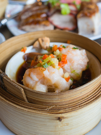 streamed shrimp with egg in bamboo case, chinese food