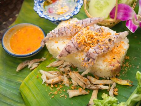 crayfish, crab and  shrimp paste sauce with rice (focus crayfish)