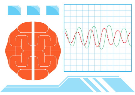 medical scan: monitor of brain and wave. A vector illustration.