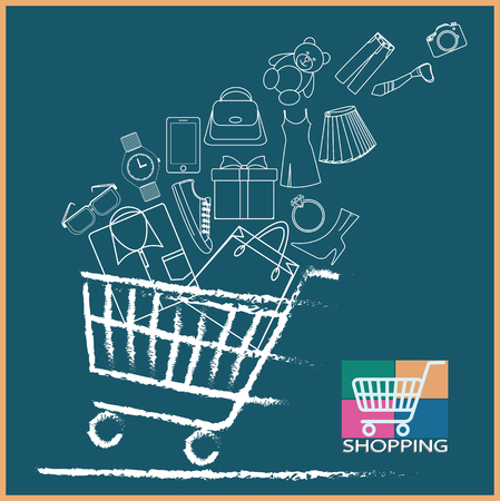 Shopping cart full variety of products Ilustrace