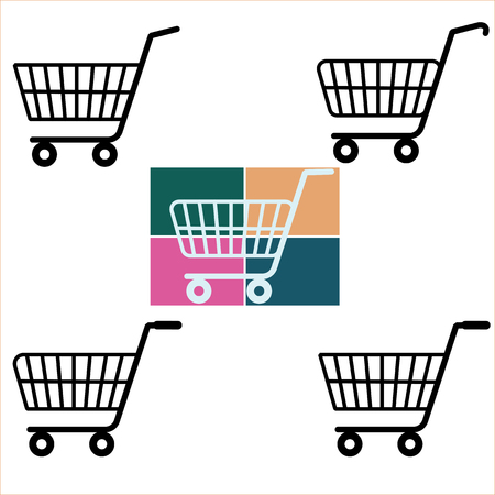 Shopping Cart Icons sign Ilustrace