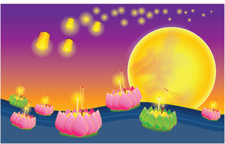Loy Krathong Festival of Lights Ceremony Thailand