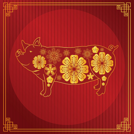 Year Of the pig - 2019 chinese new year vector illustration pig design, with golden and red color. Archivio Fotografico - 118388992