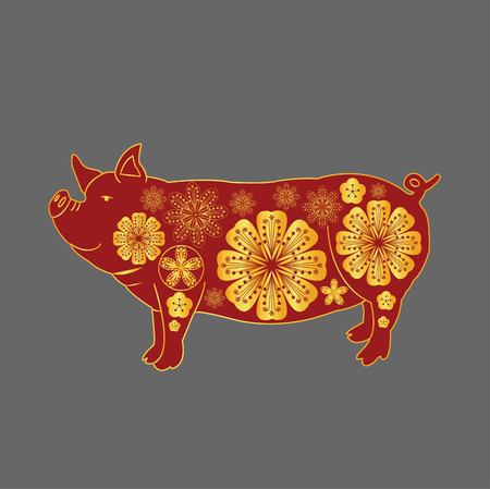 Year Of the pig - 2019 chinese new year vector illustration pig design, with golden and red color. Archivio Fotografico - 118388995