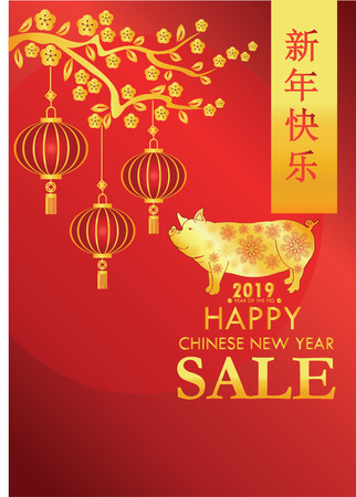 Year Of the pig - 2019 chinese new year vector illustration pig and text design, with golden and red color. Figure, brochure. Promotional poster for sell products