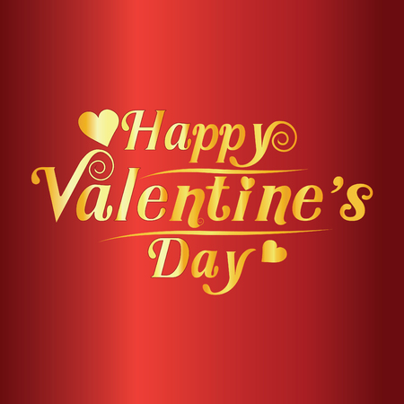 happy valentines day greeting card vector illustration. Valentine, congratulation.New design fonts, golden text on red background