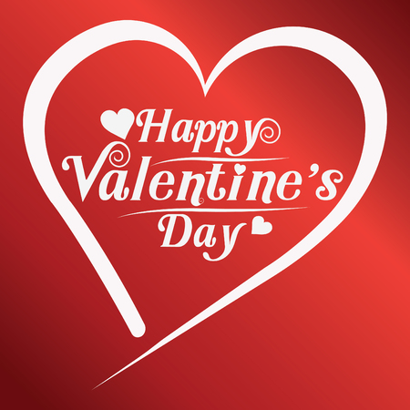 happy valentines day greeting card vector illustration. Valentine, congratulation. Heart-shaped and New design fonts, white text on red background