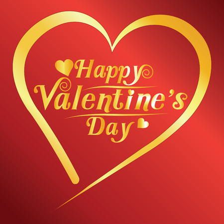 happy valentines day greeting card vector illustration. Valentine, congratulation. Heart-shaped and New design fonts, golden text on red background