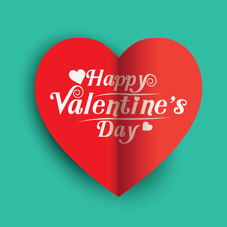 happy valentines day greeting card vector illustration. Valentine, congratulation. Heart-shaped and New design fonts, white text on red background. The heart shape is a folded paper.