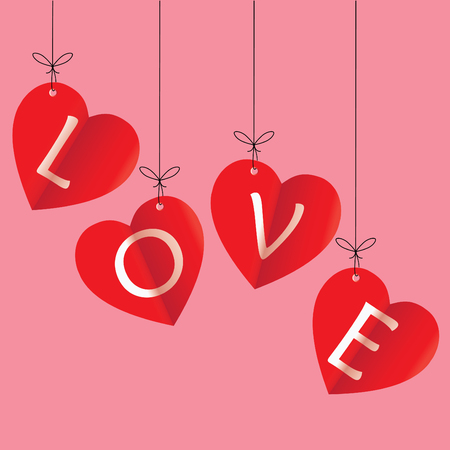 happy valentines day greeting card vector illustration. Valentine, congratulation. Heart-shaped  Love white text on red background. The heart shape is a folded paper. Illustration