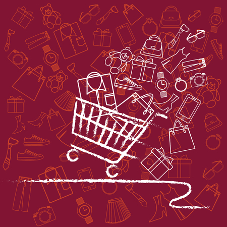 Shopping cart full variety of products. Shopping Cart, Fast-paced. The independent products vector with white outline . is show strokes and not show fills in illustrations.